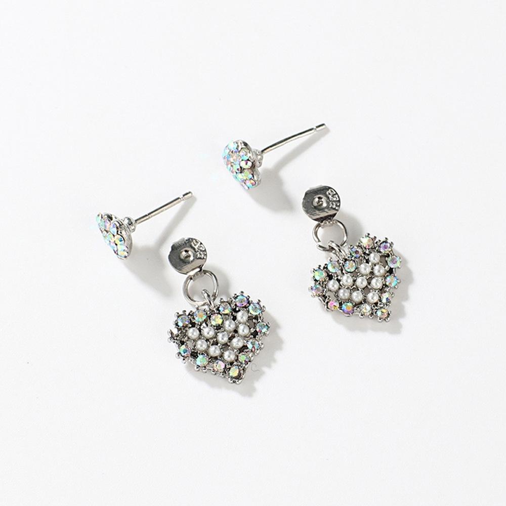 Han edition personality alloy diamond stud earrings pink star earrings female stud earrings,pendants Black star one size 11