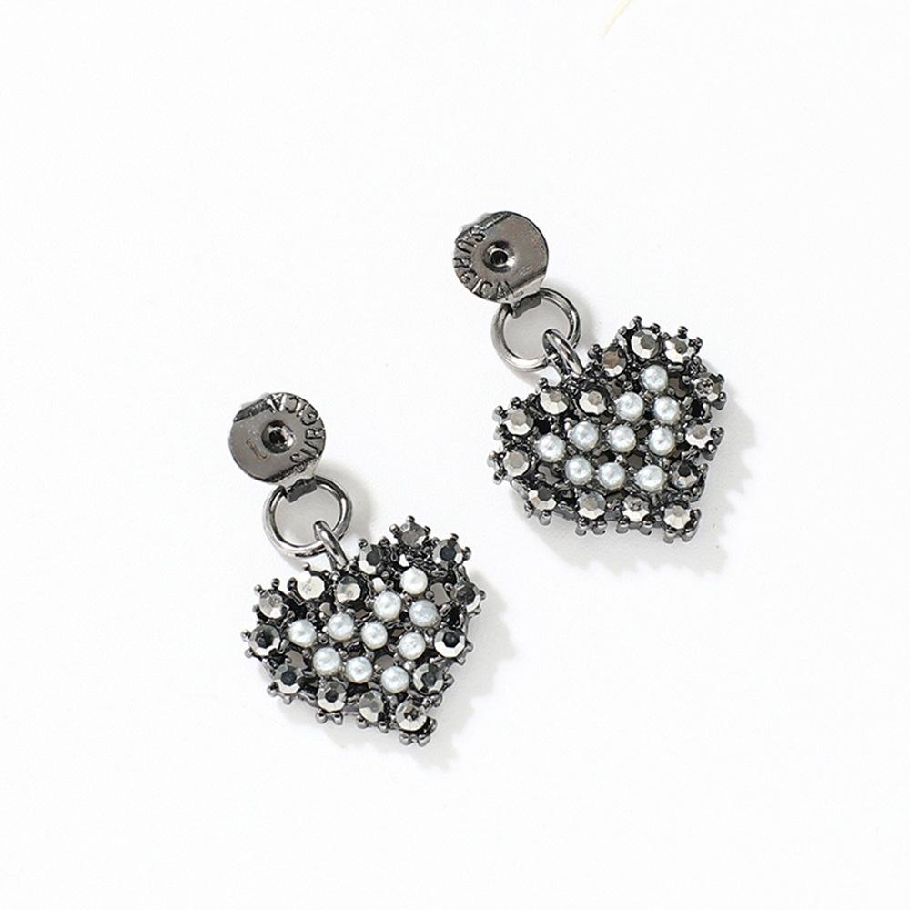 Han edition personality alloy diamond stud earrings pink star earrings female stud earrings,pendants Black star one size 12