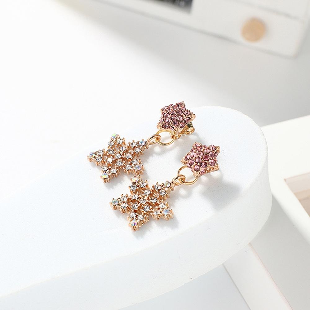 Han edition personality alloy diamond stud earrings pink star earrings female stud earrings,pendants Black star one size 10