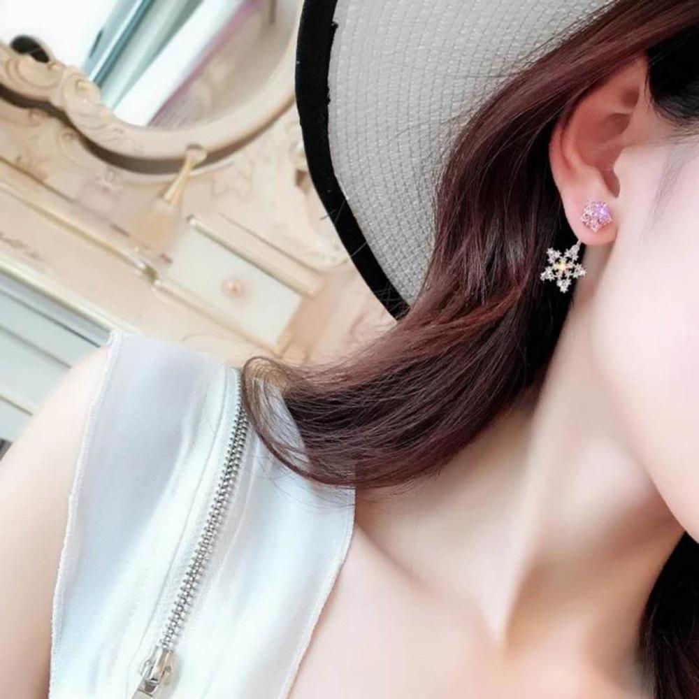 Han edition personality alloy diamond stud earrings pink star earrings female stud earrings,pendants Black star one size 1