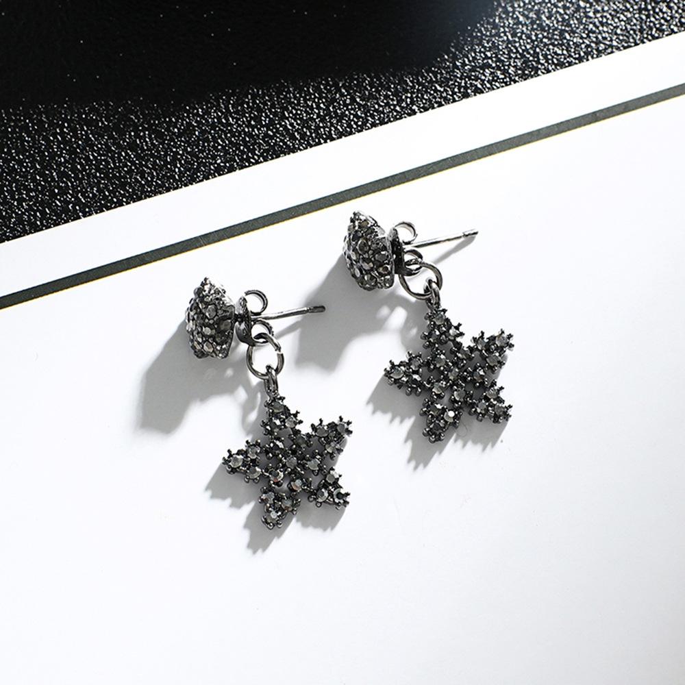 Han edition personality alloy diamond stud earrings pink star earrings female stud earrings,pendants Black star one size 8