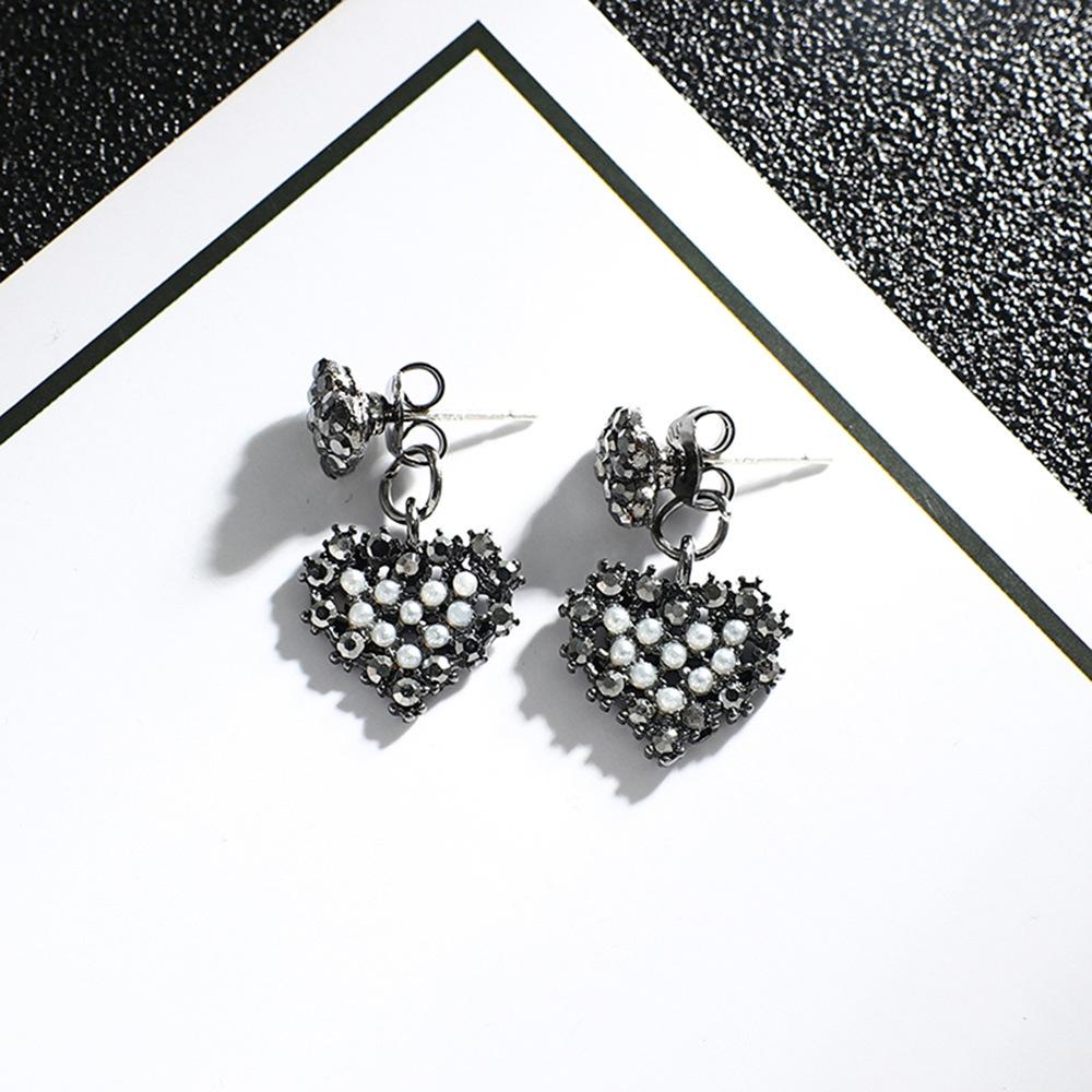 Han edition personality alloy diamond stud earrings pink star earrings female stud earrings,pendants Black star one size 7