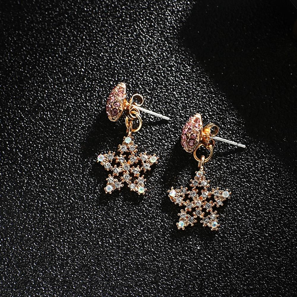 Han edition personality alloy diamond stud earrings pink star earrings female stud earrings,pendants Black star one size 5