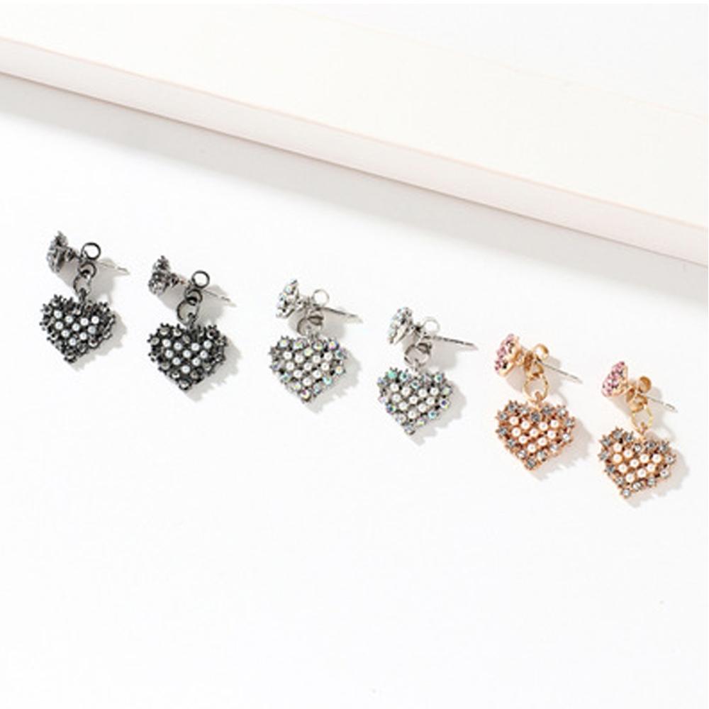 Han edition personality alloy diamond stud earrings pink star earrings female stud earrings,pendants Black star one size 24