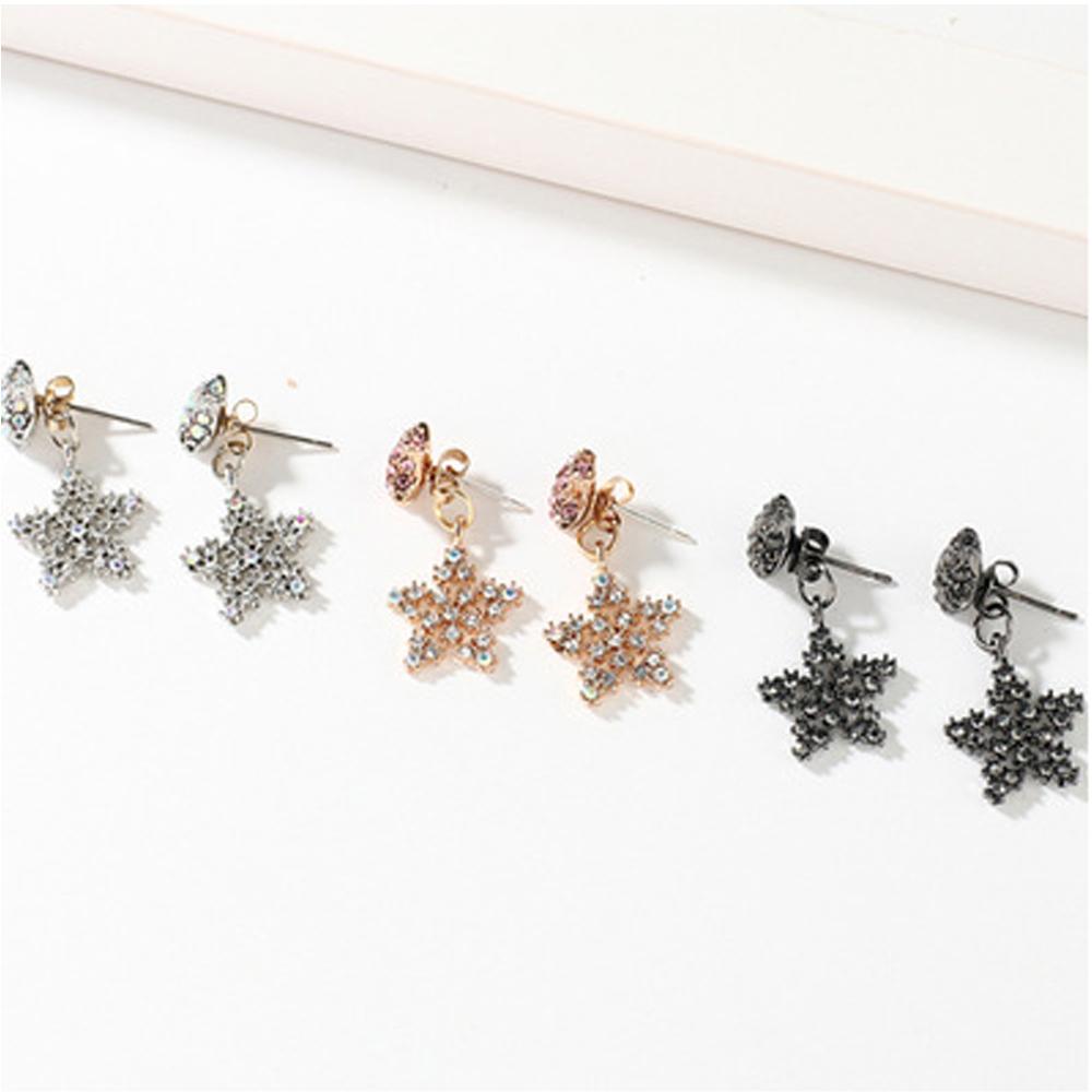 Han edition personality alloy diamond stud earrings pink star earrings female stud earrings,pendants Black star one size 23