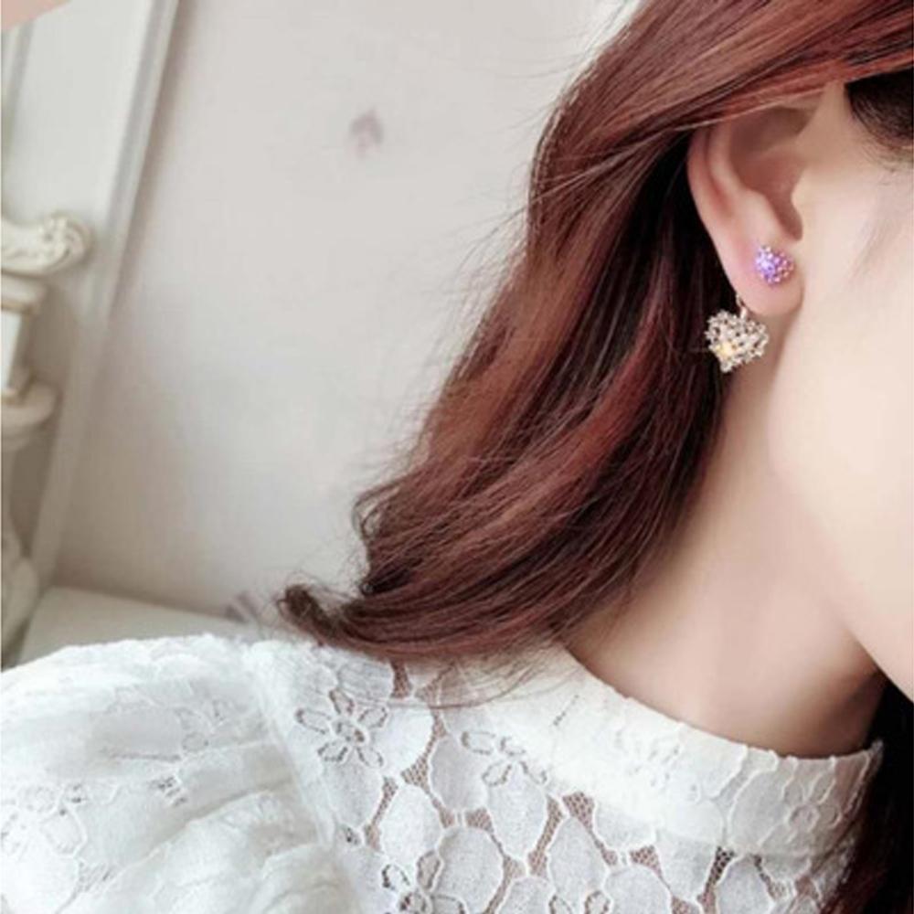 Han edition personality alloy diamond stud earrings pink star earrings female stud earrings,pendants Black star one size 25