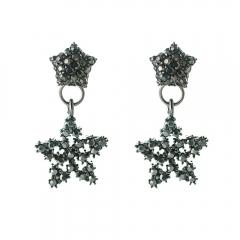Han edition personality alloy diamond stud earrings pink star earrings female stud earrings,pendants Black star one size