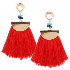 New Europe and the United States fashion tassel earrings female personality fashion long earrings red one size