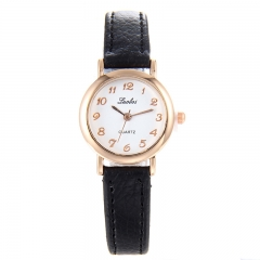 The new han edition fashion wrist watch women's table surface leather ms girl students to watch black a