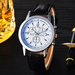 The new fashion men watch blue glass leather watch male male gifts fashion men's watch Black and white one size