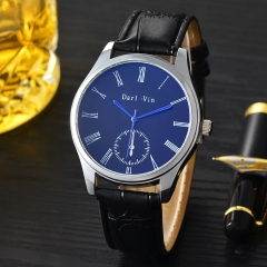 Leather belt for men watch fashion gift table students the Roman character quartz watches black one size