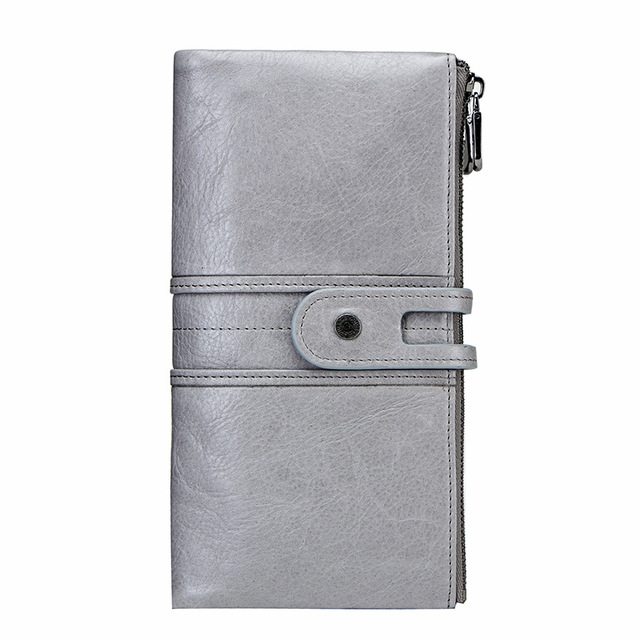 Women Purses Long Zipper Genuine Leather Ladies Clutch Bags With Cellphone Holder Card Holder Wallet Gray One Size