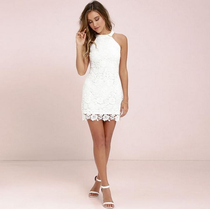 283ba8875e Womens Elegant Wedding Party Sexy Night Club Halter Neck Sleeveless Sheath  Bodycon Lace Dress Short m