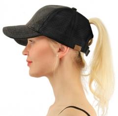 2018 ponytail baseball cap women sunbonnet hat summer bun mesh hat adjustable caps,Peaked cap black