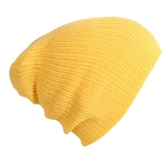 Hat Female Unisex Cotton Blends Solid Warm Soft HIP HOP Knitted Hats Men Winter Caps Women's yellow