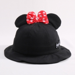 Han edition children cotton baby girls basin hat fisherman caps bowknot topi ear caps black a