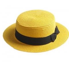 sun caps Ribbon Round Flat Top Straw beach hat Panama Hat summer hats for women straw hat snapback yellow
