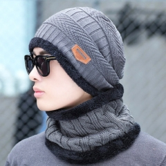 2 pieces Neck sets Hats Men Girl Winter Head hooded Cap Earmuffs Head Caps Male beanie mask gray a