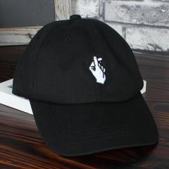 Love Gestures Finger Embroidery Golf Cap Men Women Snapback Caps Flipper Little Heart Love Sun Hat black