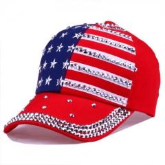 High Quality Star Pattern Baseball Cap Rivet Printed Women Men American Flag Snapback Hip Hop Hats red