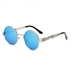 Gothic Steampunk Sunglasses Men Women Metal WrapEyeglasses Round Shades Brand Sun glasses Mirror blue a