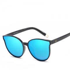 Fashion Women Colour Flat Top Cat Eye  Elegant oculos de sol men Twin Beam oversized Sun glasses blue C26