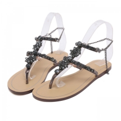 Woman Sandals Women Shoes Rhinestones Chains Thong Gladiator Flat Sandals Crystal Chaussure black 34