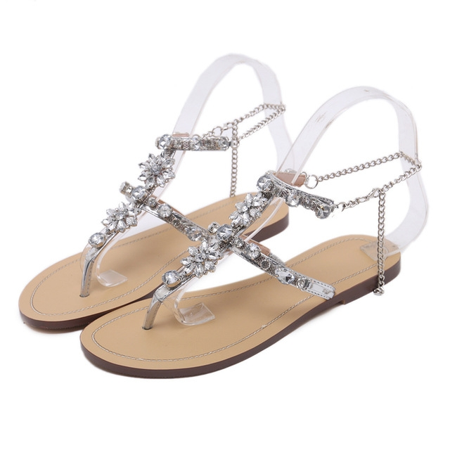 40bc7f55fc2735 Woman Sandals Women Shoes Rhinestones Chains Thong Gladiator Flat Sandals  Crystal Chaussure silver 46  Product No  2672401. Item specifics  Brand
