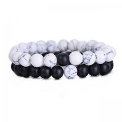 Couples Bracelet Classic Natural Stone White and Black Yin Yang Beaded Bracelets for Men Women white black VF56