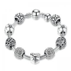 Antique Silver Charm Bracelet with Love  Flower Beads Women Wedding Jewelry,Set auger alloy bracelet white 18cm