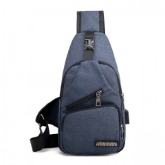 Male Shoulder Bags USB Charging Crossbody Bags Men Anti Theft Chest Bag oblique cross package blue one size