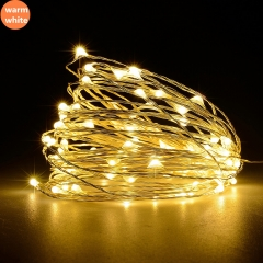 Led Strings Copper Wire Battery Christmas Wedding Party LED String Fairy Lights decorative light Warm white 10cm A
