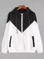 Autumn Fashion Hooded Two Tone Windbreaker Jacket Zipper Casual Long Sleeves Feminino Coats Outwear black s