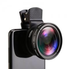 Phone Lens kit 0.45x Super Wide Angle Super Macro Lens HD Camera Lentes, Micro Phone Lens black