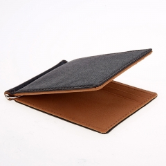 Leather Men Money Clip Wallet Solid Male Purses With Designer Cash Holder Card Cases Money Clip brown one size