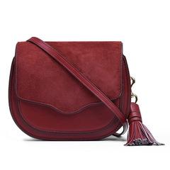2018 fashion fringed women's single shoulder bag ,Women Leisure Genuine Leather Saddle Bag red one size