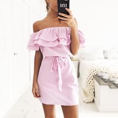 Strapless Striped Ruffles Dress Women Summer Sundresses Beach Casual Shirt Short Mini Party Dresses s pink