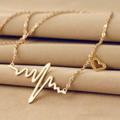 Ecg Necklace Love Shaped Titanium Steel Heartbeat Lockbone Chain Heart Pendant Necklace Female gold a