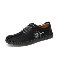 2018 Fashion Comfortable Loafers Men Shoes Quality Split Leather Shoes Men Flats Moccasins Shoes black 38 a pair