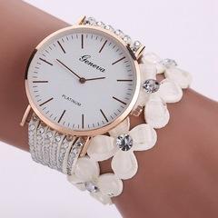 Fashion Flowers Watches Women Dress Elegant Quartz Bracelet Ladies Watch Crystal Diamond Wrist Watch white one size