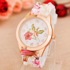 Fashion Women Girl Watches Silicone Printed Flower Causal Quartz Wrist ladies Watches feminino mujer 1 one size