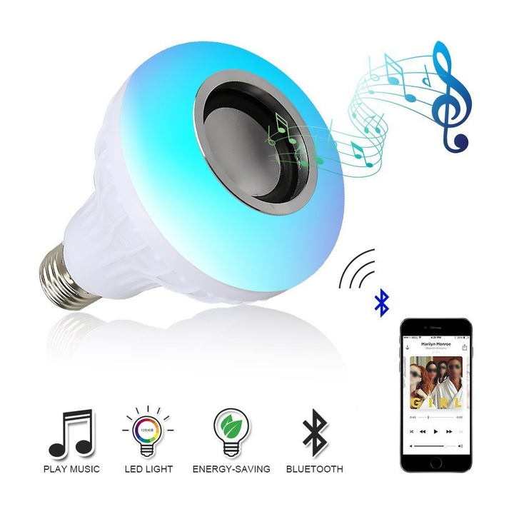 Wireless Bluetooth Speaker RGB Bulb LED Lamp Smart Led Light Music Player Audio with Remote Control RGB E27