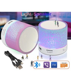A9 Portable Mini Bluetooth Speakers Wireless Hands Free LED Speaker TF USB FM Sound Music white A9