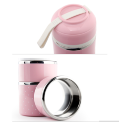 Thermal Lunch Box Leak-Proof Stainless Steel Bento Box Kids Portable Picnic School Food Container pink One layer 1.7l