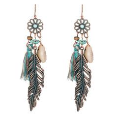 Antique Vintage Bohemian Ethnic Tassel Fringe Leaf Stones Earrings Girls Jewelry,Ear Studs blue a