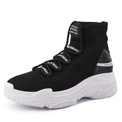 Shark Sneakers Women Men Knit Upper Breathable Sport Shoes Chunky Shoes High Top Running Shoes black 35