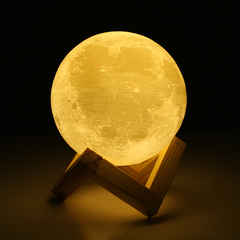 Rechargeable 3D Print Moon Lamp Color Change Touch Switch Bedroom Bookcase Night Light Home Decor Pat+touch+Three colors 8cm a