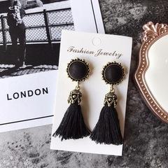 Women Fashion Jewelry Vintage Velvet Ball Statement Fringed Drop Earring Female Jewellery ,Ear Studs black a