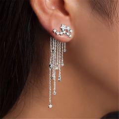 Fashion Women Stylish Streamlined Tassel Long Crystal Earrings Women Jewelry Pendante silver a