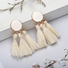 Tassel Earrings Gold Color Round Drop Earrings for Women Wedding Long Fringed Earrings Jewelry white a